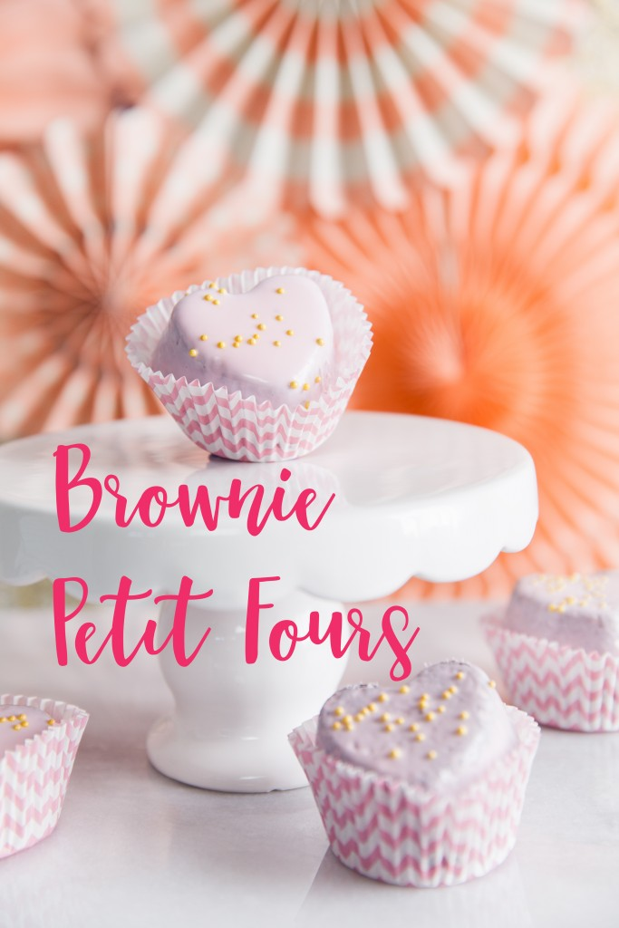 Petit Four Brownies, perfect for a baby shower or Valentines party