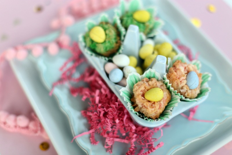 coconut macaroon easter nests -- mmm, these are SOOO good! Perfect Easter dessert to take anywhere