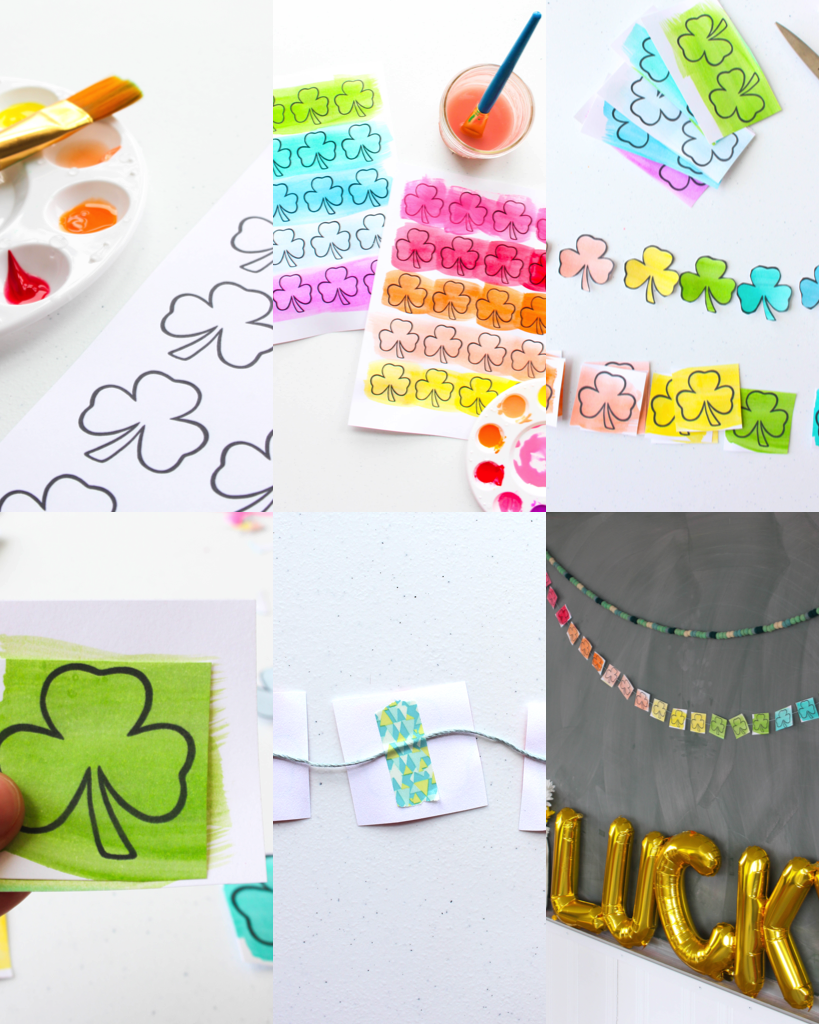 step by step photos to make your own printable shamrock banner