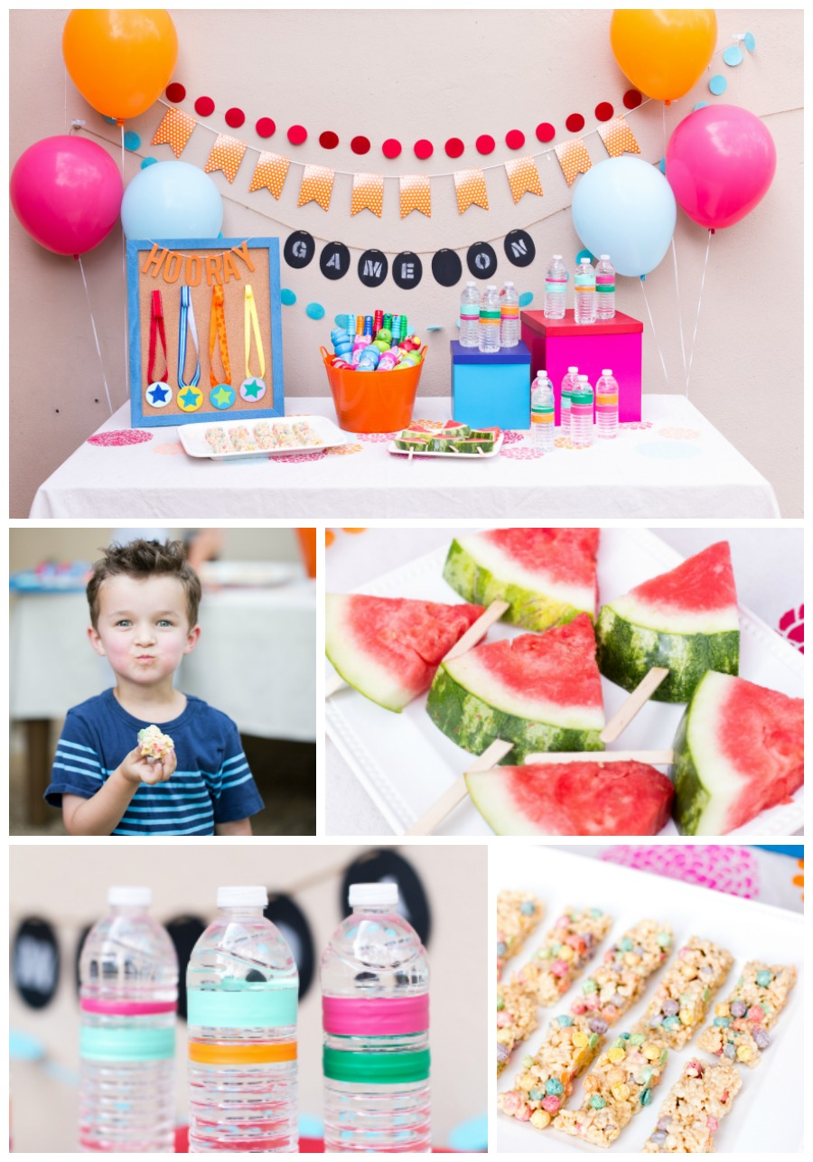 Kids party food doesn't need to be complicated, simple things like fruit, water and rice crispy treats. They love them and it all comes together quickly and easily.