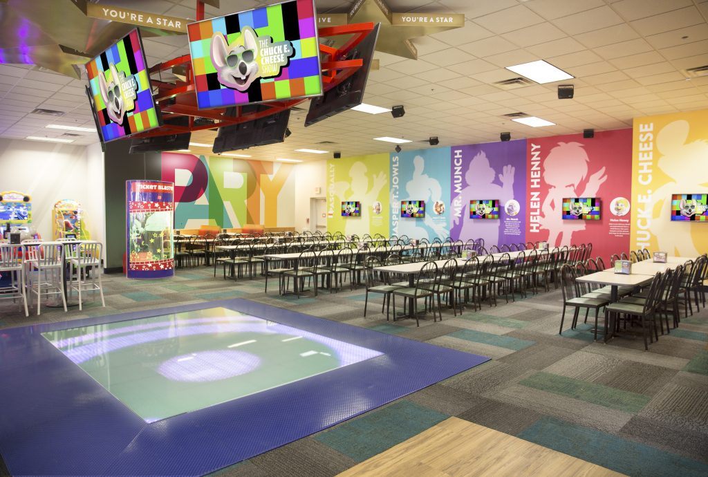 No more animatronics. Chuck E. Cheese gets rid of the stationery characters and replaces them with live characters and this light up dance floor